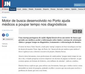 Tonic App on Jornal de Noticias