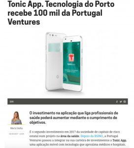 Tonic App at Dinheiro Vivo